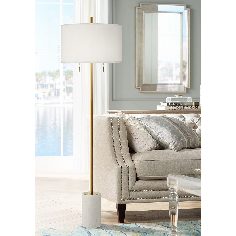 Milan Modern Floor Lamp with Marble Base - Style # 88P05