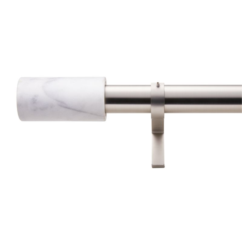 """Brushed Brass with White Marble Finial Curtain Rod Set 48""""-88""""x1.25""""Dia."""