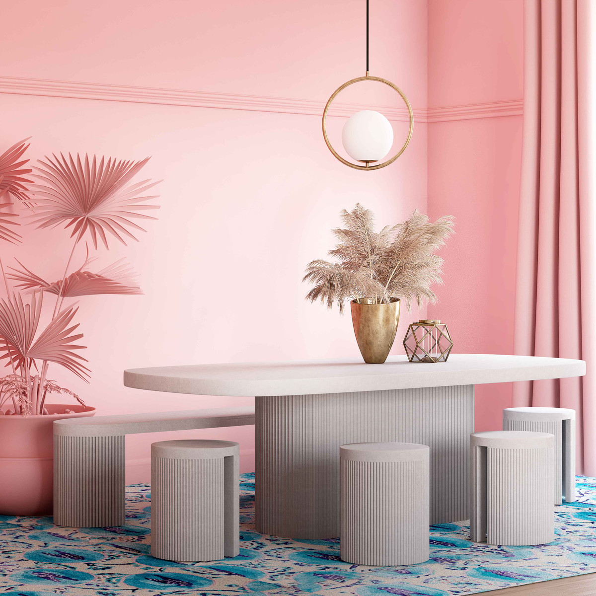 Roman Modern Classic White Concrete Dining Table