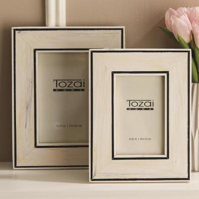 Two's Company Border Lines Set of 2 Black and White Resin Picture Frames Includes 2 Sizes: 4 in. x 6 in. and 5 in. x 7 in.