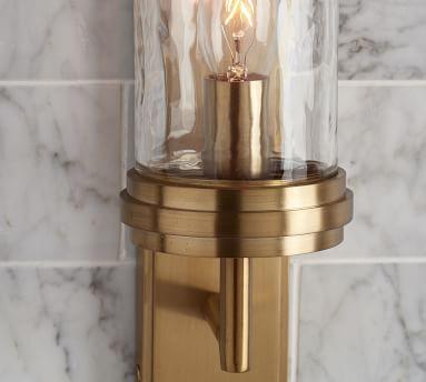 Frey Lighting, Single Elongated Tube, Tumbled Brass