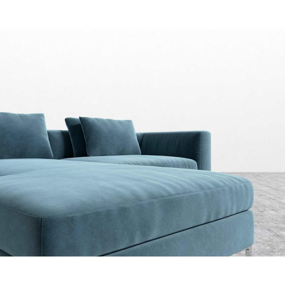 Rove Concepts Antonio Modern Classic Solstice Blue Velvet 2 Piece Sectional Sofa