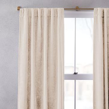 """Worn Velvet Curtain with Cotton Lining, Alabaster, 48""""x96"""""""