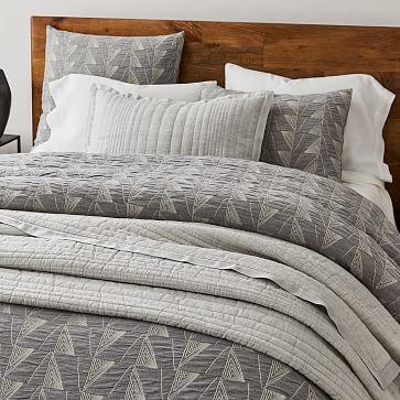 European Flax Linen Linework Quilt, King, Cedar