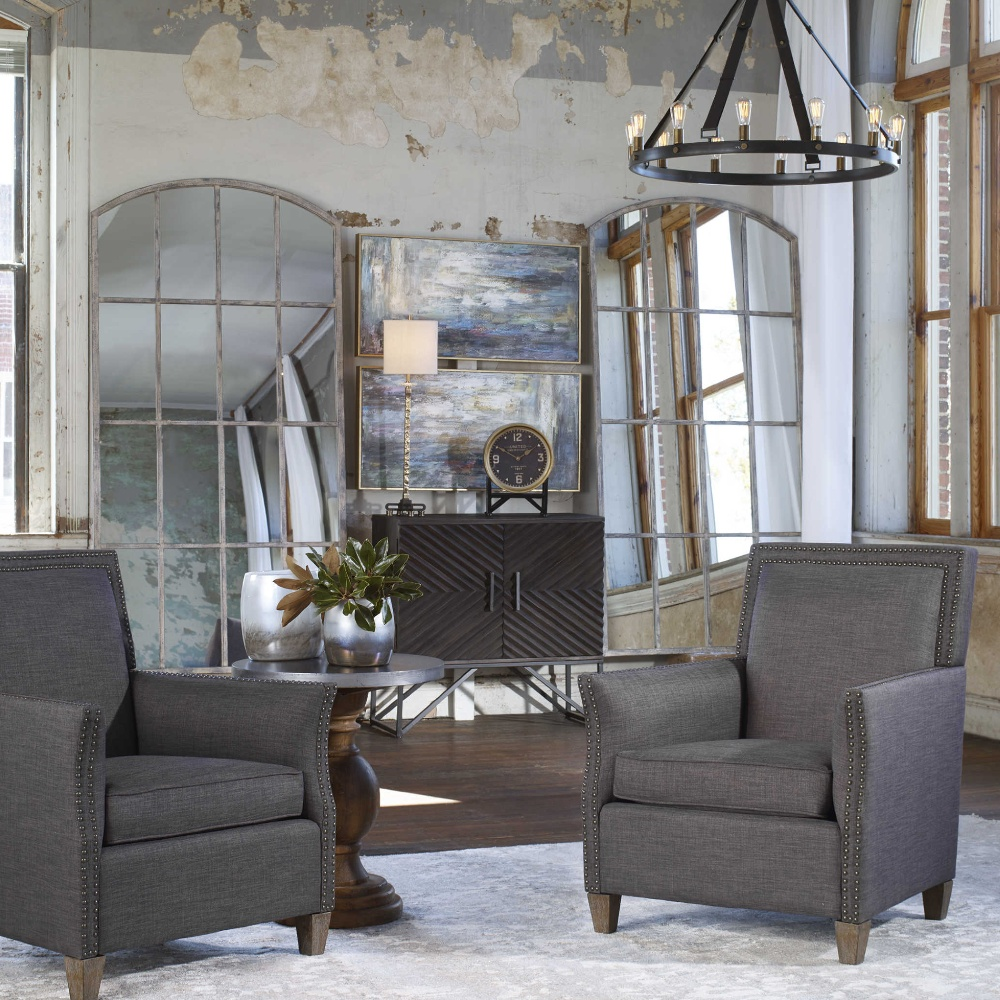 Mira French Country Grey Arched Floor Mirror
