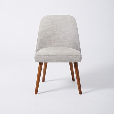Mid Century Upholstered Dining Chair, Belgian Flax, Chunky Melange