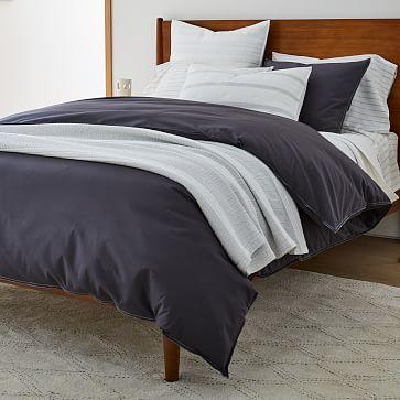 Washed Cotton Melange Simple Stripe Sheet Set , King, Light Heather Gray