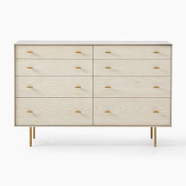 Modernist Wood + Lacquer 8-Drawer Dresser, Flax, Winter Wood