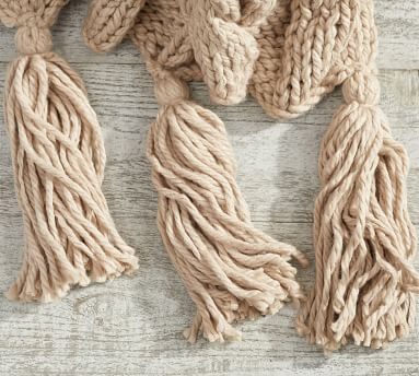 "Bluma Chunky Knit Tassel Throw, 50 x 60"", Neutral"