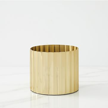 Pure Foundations Metal Tabletop Planters, Small Round, Polished Brass