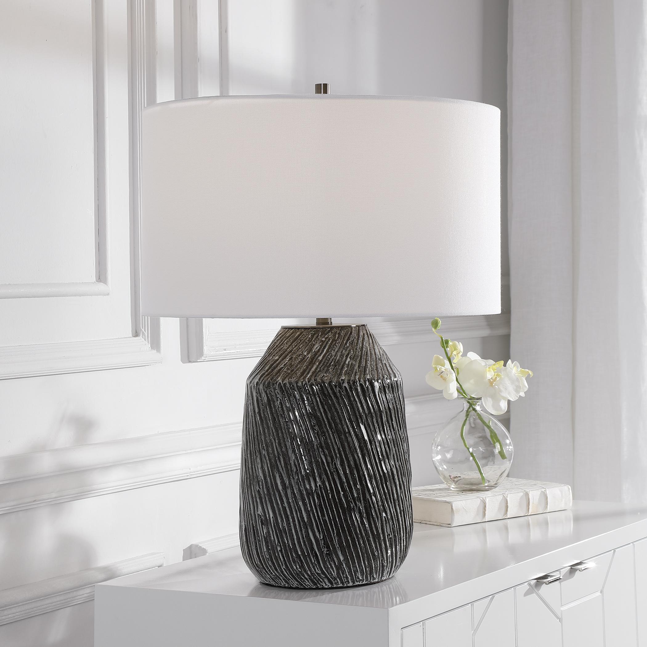 Malaya Graphic Black Table Lamp
