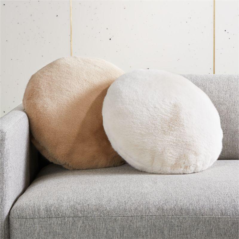 Harlee Light Brown Round Pillow