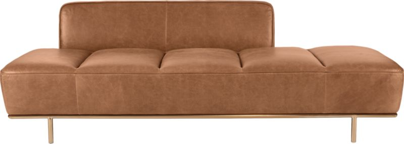 Lawndale Saddle Leather Daybed with Brass Base