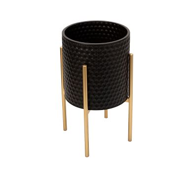 Bella Black Patterned Raised Planters with Gold Stand, Set of 2