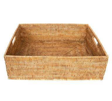 Summerville Handwoven Rattan Rectangular Storage Basket, Small, Espresso