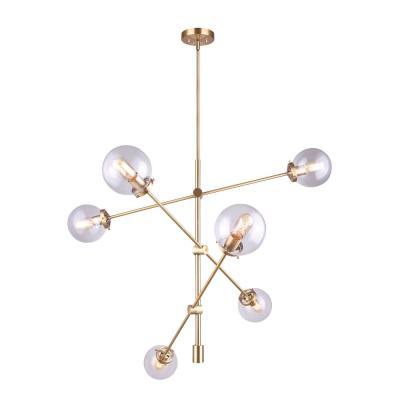CANARM Kalani 6-Light Gold Sputnik Chandelier with Clear Glass Shades