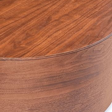 "Drum Coffee Table, 36"", Cool Walnut"