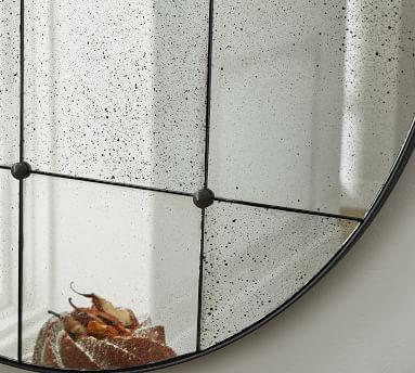 "Markle Round Antique Glass Wall Mirror, 40.5""W"
