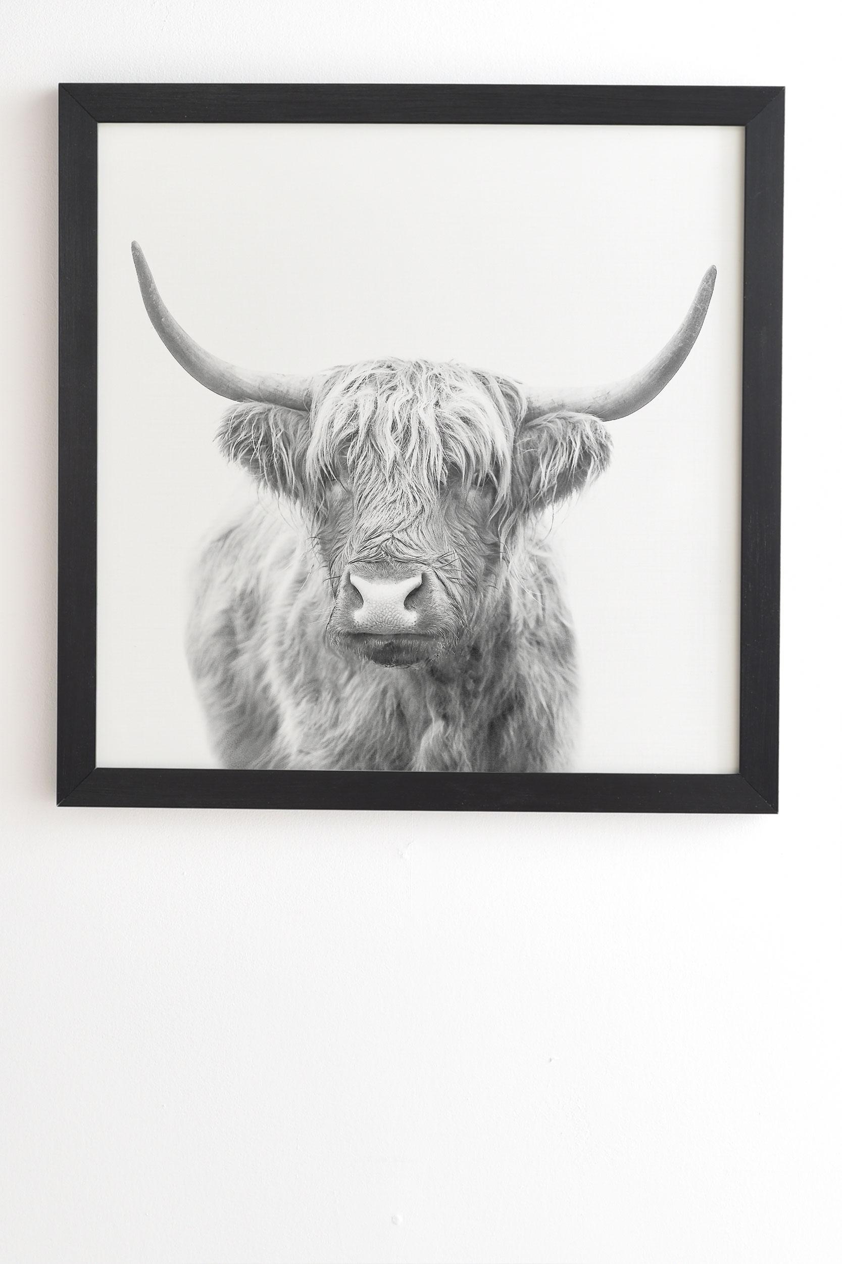 "Highland Bull by Sisi and Seb - Framed Wall Art Basic Black 20"" x 20"""