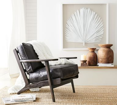 Raylan Leather Armchair With Black Frame, Down Blend Wrapped Cushions, Signature Adriatic Blue