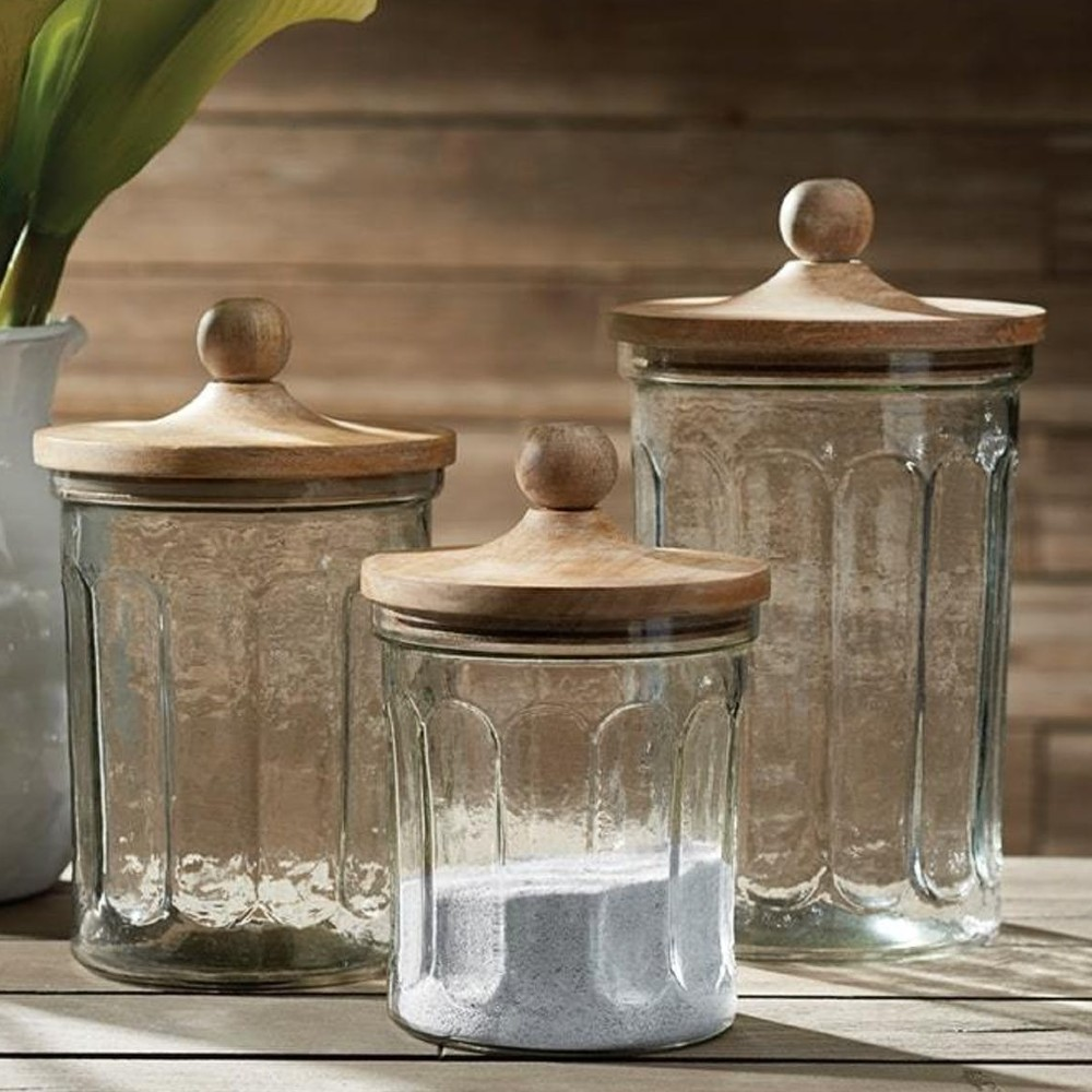 Owen Rustic Lodge Glass Canisters - Set of 3