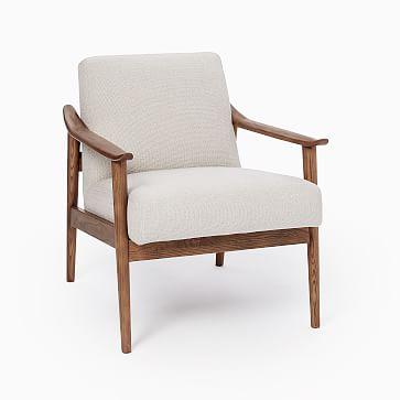 Midcentury Show Wood Chair, Poly, Distressed Velvet, Tarragon, Pecan