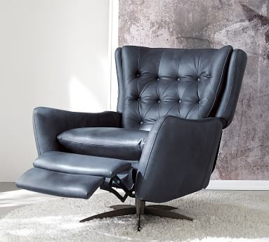 Wells Leather Swivel Recliner with Bronze Base, Polyester Wrapped Cushions Burnished Bourbon