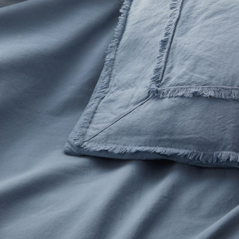 Washed Organic Cotton Blue King Duvet Cover