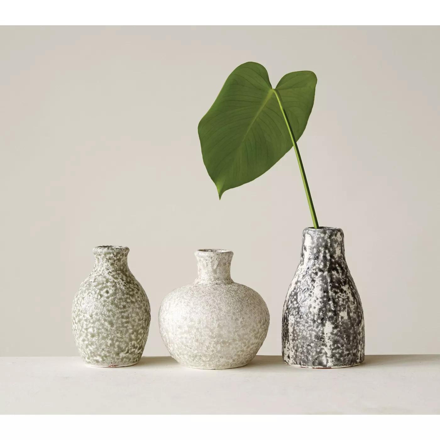 Distressed Terracotta Vases, Gray, Set of 3
