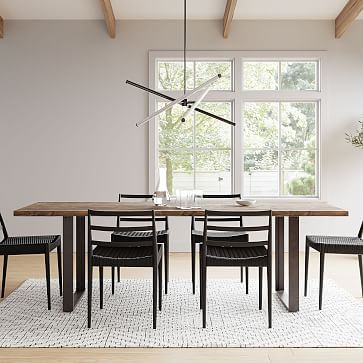"""Tompkins Industrial Dining Table, 94"""", Natural, Antique Bronze"""