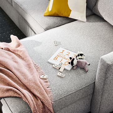 """Harris Sectional Set 05: LA 65"""" Sofa, RA Storage Chaise, Poly , Chenille Tweed, Storm Gray, Concealed Supports"""