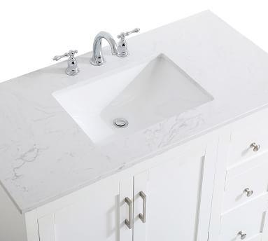 "White Cedra Single Sink Vanity, 42"""