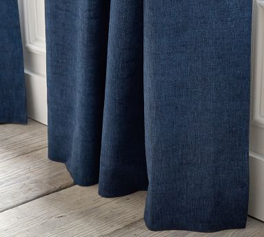 """Belgian Flax Linen Curtain/ Unlined /50 x 108""""/ Chambray"""