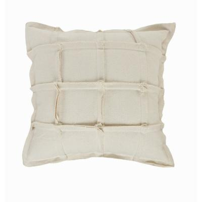 LR Home Grid Beige Geometric Squares Cozy Poly-Fill 20 in. x 20 in. Throw Pillow