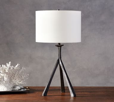 Easton Forged-Iron Tripod Table Lamp with Medium Straight Sided Gallery Shade, Bronze