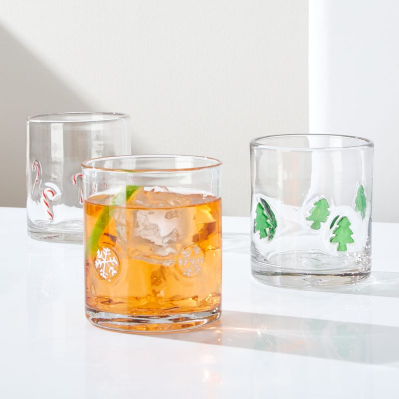 Candy Canes Double Old-Fashioned Glass