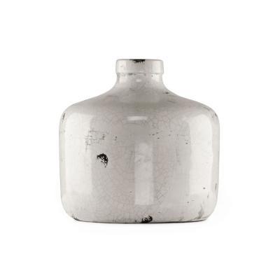 Zentique Round Distressed White Medium Decorative Vase, Distressed Crackle White