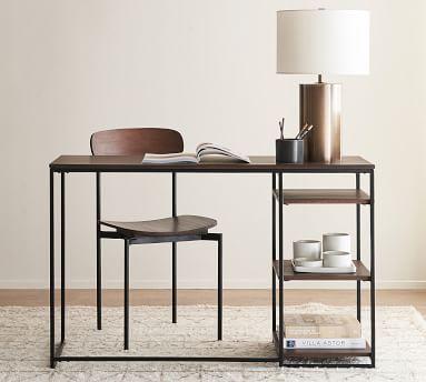 "Bradley 47"" Wood Desk with Shelves, Dark Umber"