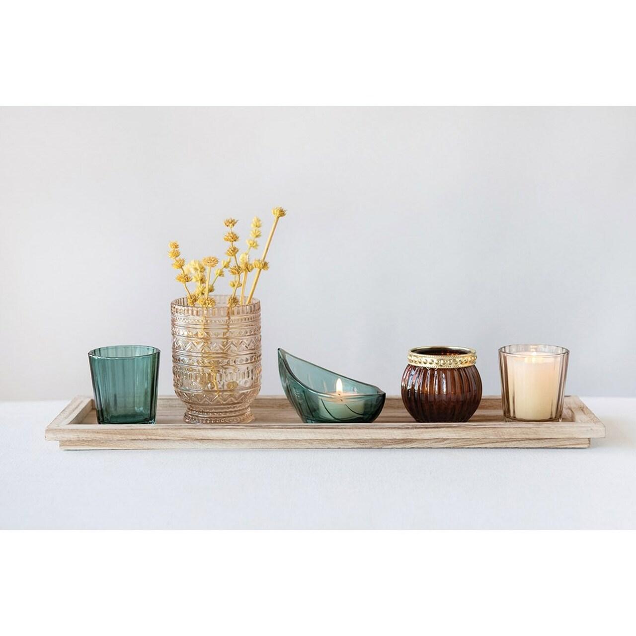 Paulownia Wood Tray with 5 Glass Votive Holders