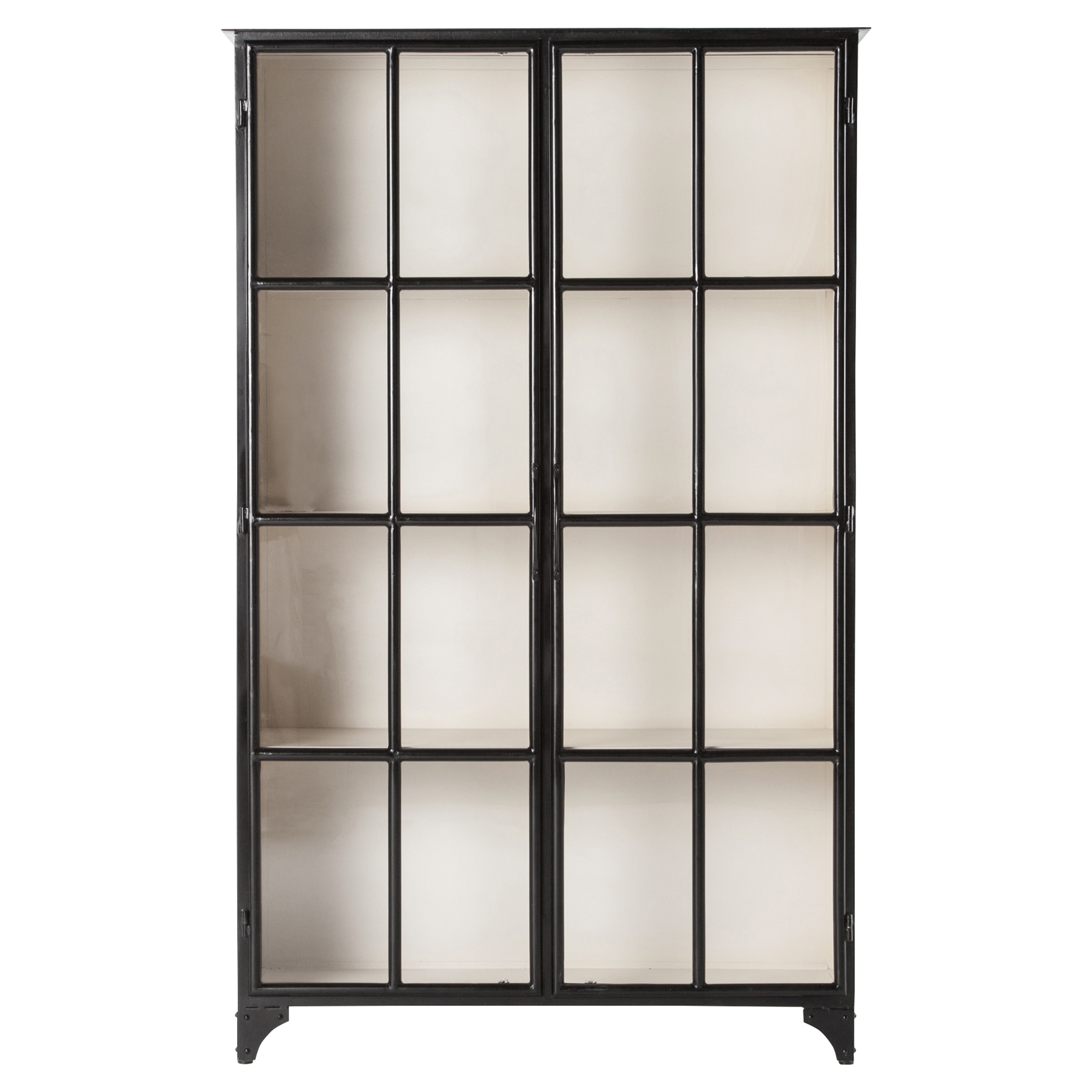 Corden Industrial Loft Black and White Recycled Iron 4 Shelf Cabinet