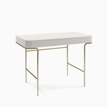 Cecile Desk, Oyster, Antique Brass