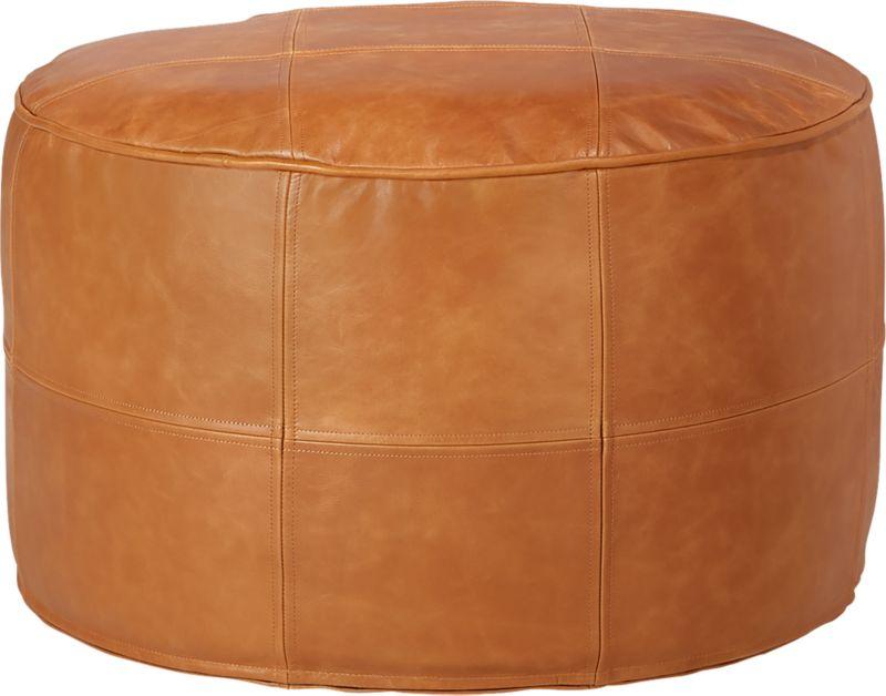 Round Saddle Leather Pouf-Ottoman