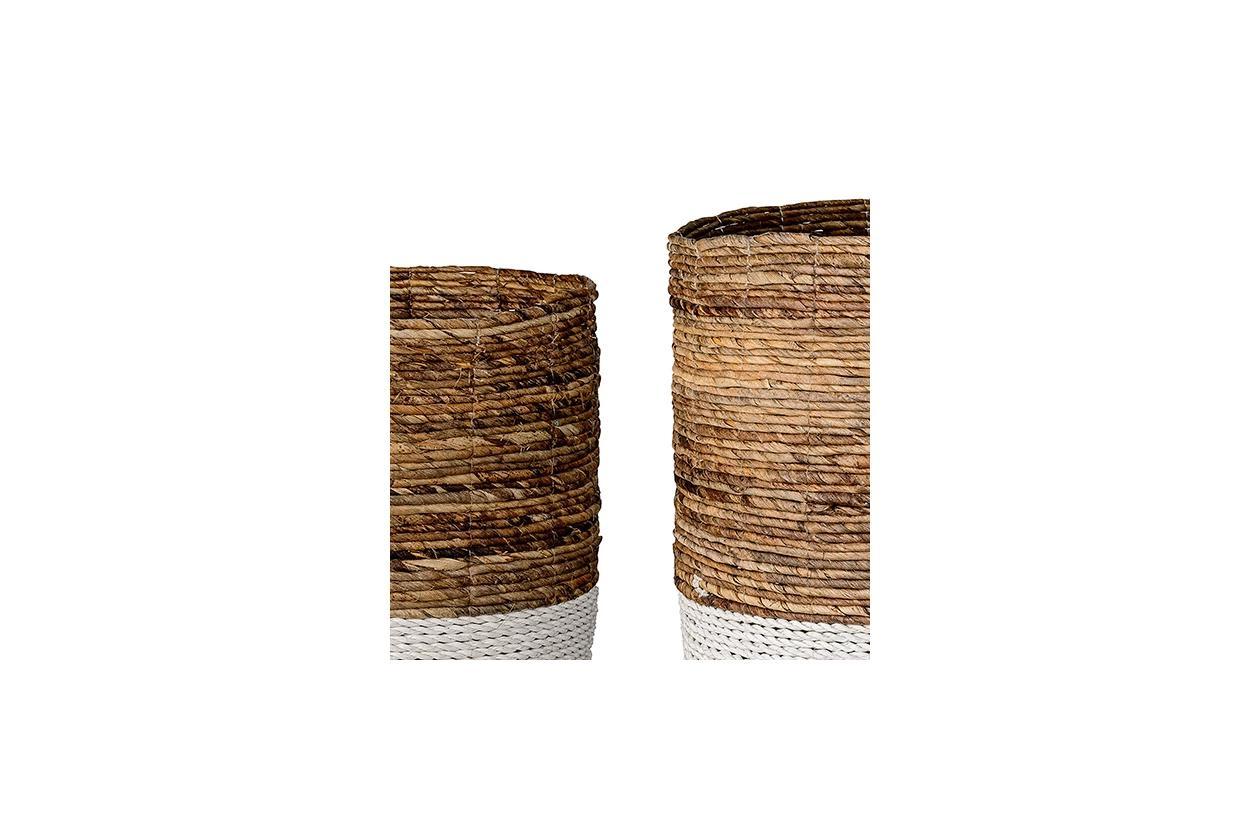 Raffia & Banana Leaf Baskets, Set of 2