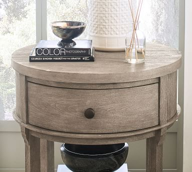 Toulouse Round Nightstand, Gray Wash