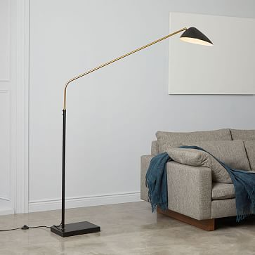 Overarching Curvilinear Mid Century Floor Lamp, Black/Brass