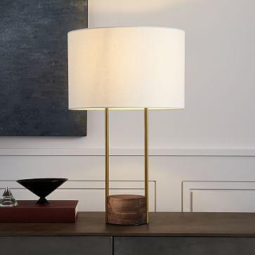 Industrial Outline Table Lamp, Cool Walnut/Dark Bronze, Set of 2