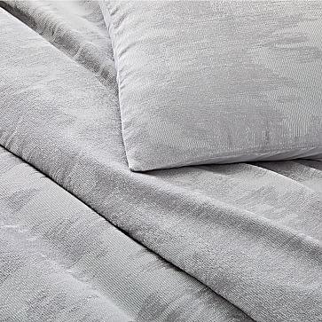 Tencel Cotton Ikat Matelasse Duvet, King, Silver Gray