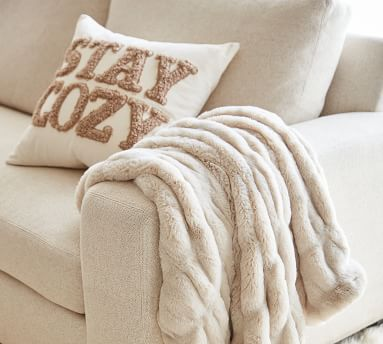 """Stay Cozy Teddy Applique Pillow Cover, 20 x 20"""", Sand"""