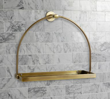 Linden Fixtures, Shelf, Tumbled Brass