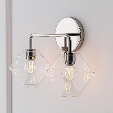 Sculptural 2-Light Sconce, Faceted Mini, Clear, Polished Nickel